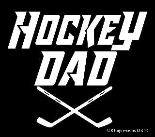 UR Impressions Hockey Dad Version 2 Decal Vinyl Sticker Graphics for Cars Trucks SUV Vans Walls Windows Laptop|White|5.5 X 5 Inch|URI316