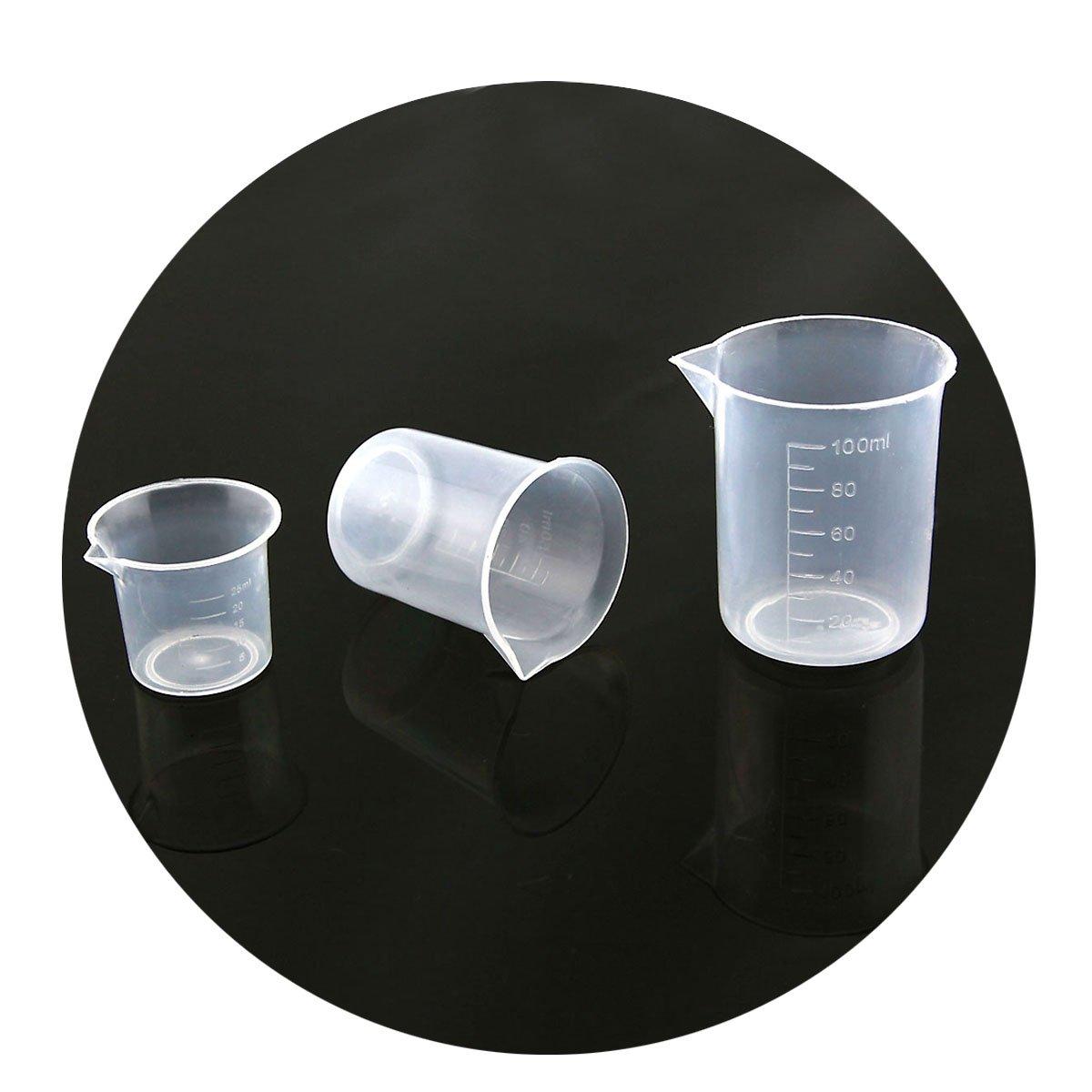 Owfeel A Set of 3 latest 100mL Houston Mall Plastic Beaker 50mL Set-25mL