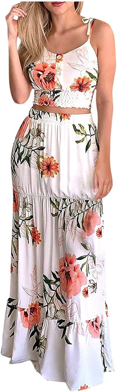 Keepfit Summer Dress for Women, Boho Floral Print Waist Suit Casual Two-Piece Suit, Sleeveless Plus Size Skirt Sets