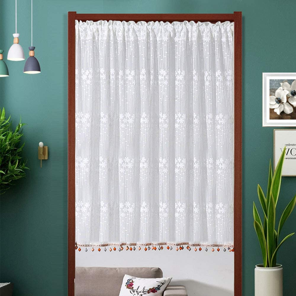 F-XW Washington Mall Embroidered Tier Max 64% OFF Curtains Semi Treatmen Sheer Window Voile