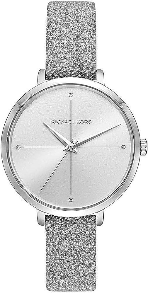 Michael kors, orologio da polso da donna, in acciaio inossidabile e cinturino in pelle MK2793