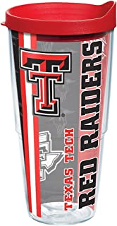 Tervis 1221300 Texas Tech Red Raiders College Pride Tumbler with Wrap and Red Lid 24oz, Clear