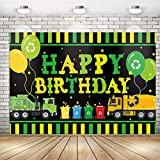Garbage Truck Trash Trucks Happy Birthday Backdrop Banner for Boys Kids | Garbage Truck Waste Management Recycling Bin Birthday Party Backdrop Background Banner Wall Decorations 71x 49inch