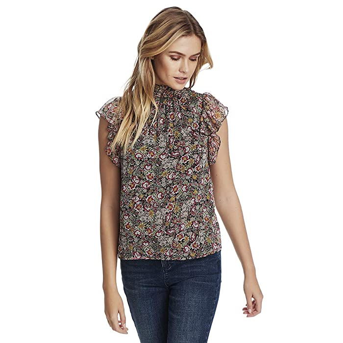 1.STATE  Forest Gardens Smocked Neck Flutter Sleeve Blouse (Rich Black Multi) Womens Clothing