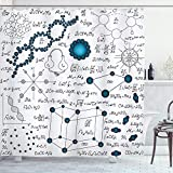 Ambesonne Abstract Shower Curtain, Science Physics DNA Molecule Formulas Atomic Chemical Analyses Display, Cloth Fabric Bathroom Decor Set with Hooks, 84' Long Extra, Petrol Blue