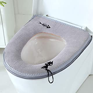 Arswin Toilet Seat Cover with Zipper, Washable Standard Toilet Lid Cover with Handle, Soft Thicker Warmer Cover Pad Cushion for Bathroom, Fits All Elongated (Oval) Toilet Seats, Grey