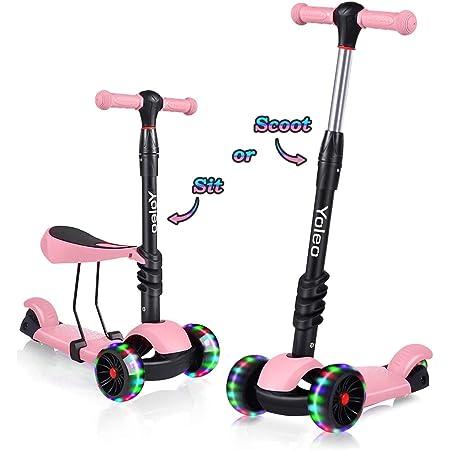 YOLEO Patinete para Niños 3-en-1, Scooter 3 Ruedas LED Parpadeantes, Scooter para Niños con Manillar Ajustable Asiento Extraíble de 2 a 8 años, Carga ...