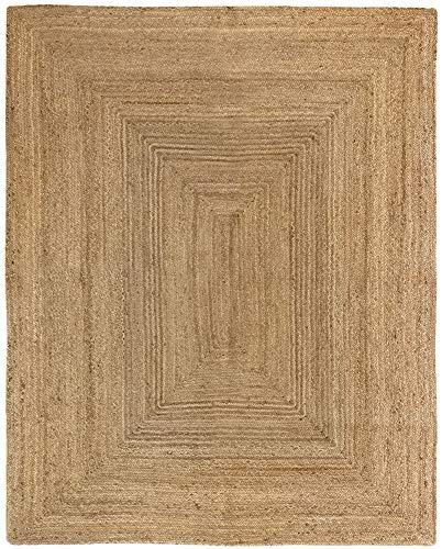 HAMID Alfombra Yute Alhambra Color Natural - Alfombra 100% Fibra de Yute (200x250cm)