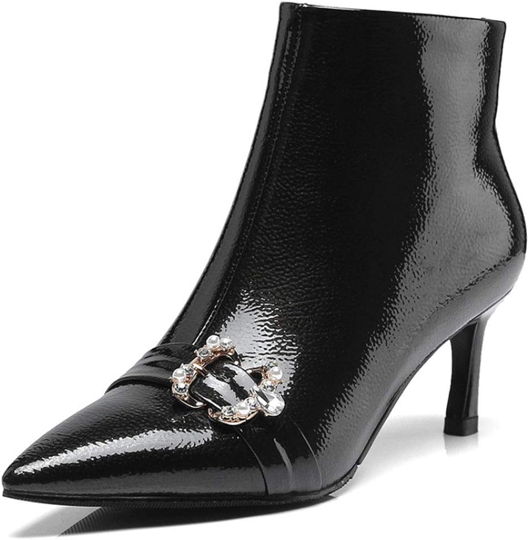 Frauen Kurze Stiefel zerknittertes Lackleder wies hohe Ferse Martin Stiefel Seite Reiverschluss Strass Metall dekorative Mode Stiefel Herbst und Winter Europa und Amerika (35 EU-39 EU),schwarz,39EU