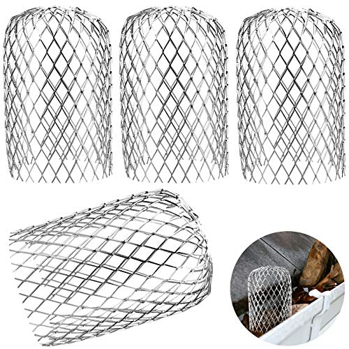 4 Pezzi Filtro per Grondaia, Protezioni per Grondaia in Rete di Alluminio per Filtrare Foglie e Rami - 8 cm di Diametro