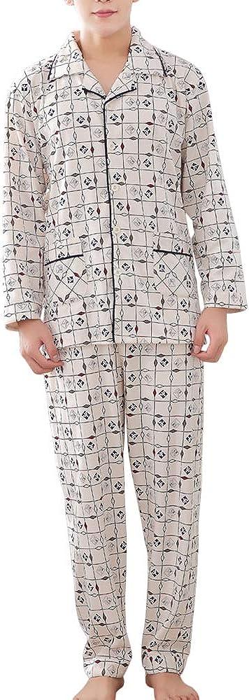 Mens Pajamas Set 100% Cotton Elastic Waist Sleepwear Set with Top and Pants/Bottoms