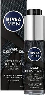 NIVEA MEN Deep Control - Gel hidratante con efecto mate (1 x 50 ml) crema hidratante mate para el rostro hidratante con ...