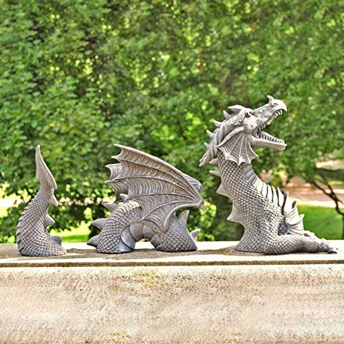 ADAKEL Dragon Gothic Garden Decor Statue, The Dragon of Falkenberg Castle Moat Lawn Garden Statue, Funny Outdoor Figurine Yard Art Ornaments( Grey)