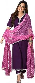 ANNI DESIGNER Women's Cotton Straight Kurta and Pants with Dupatta (Wine)