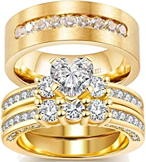 ringheart Couple Rings Yellow Gold Filled Heart Cut Cz Three Stone Womens Wedding Ring Sets Titanium Men's Wedding Band (P...