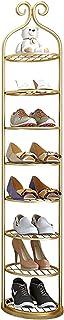 Rangement Etagere Meuble Range Chaussure Étagère À Chaussures Dorée pour Plancher de Placard, Métal Verticale Organisateur...