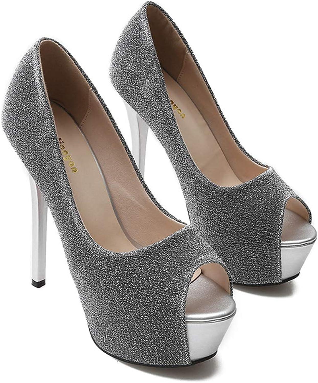 Sam Carle Womens Pumps,High Thin Heel Fish Mouth Fashion Spring Sequined Rhinestone shoes