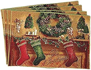 Tache Home Fashion DB14605PM-13 X 19 Festive Christmas Woven Tapestry Placemat, 13x19, Hung with Care