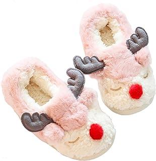 Poupuid Fuzzy Womens Elk Reindeer Fleece Slippers Soft Christmas Reindeer Bedroom Non-Slip Slipper