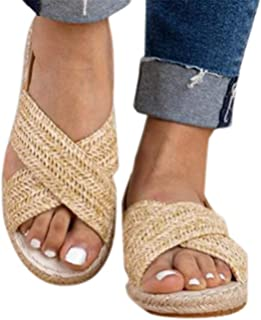 Women Flat Sandals Shoes Summer Straw Hemp Elastic Band Casual Shoes Beach Sandals by Gyouanime