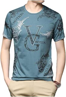 neveraway Men Slim Fit Oversized Summer Crew Neck Floral Print Short Sleeve Shirt