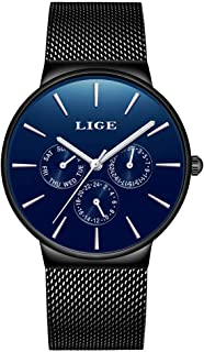 LIGE Watches for Men Gents Fashion Casual Simple Analog Quartz Mens Watch Black Blue Sport Chronograph Waterproof Watch Stainless Steel Mesh Thin Wristwatch Gents Dress