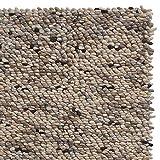 URBANARA Alfombra Thela – 75% lana 25% algodón 200 x 300 cm tejida a mano natural/gris piedra / marfil, cadena 100% algodón Certificado Care & Fair