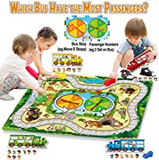 HISTOYE Bus Stop Best Fun Board Games for Kids Age 4-6 6-8 Educational Table Game for Toddlers Montessori Toy Preshool Math Traffic Zoo Toys for 4 5 6 7 8 9 10 Year Old Boys Girls