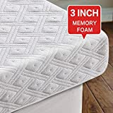 COTTONHOUSE Cool Gel 3 Inch Memory Foam Mattress Topper King Size,Aviation Grade Material,Removable Hypoallergenic Soft Cover, Comfort Body Support & Pressure Relief