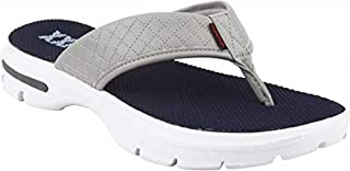 KazarMax Men`s Grey Quilted Walking Flip-Flops (Made in India)