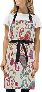 YIXKC Apron Colorful Paisley Adjustable Neck with 2 Pockets Bib Apron for Family/Kitchen/Chef/Unisex