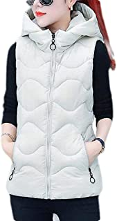 Macondoo Women Winter Down Jacket Hoodie Puffer Quilted Vest Coat