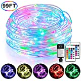 99Ft LED Rope Lights Outdoor, 16 Color Changing Remote Control Fairy String Lights Plug in with 300 LEDs, Waterproof, Super Durable for Bedroom Patio Wedding and Christmas Decor