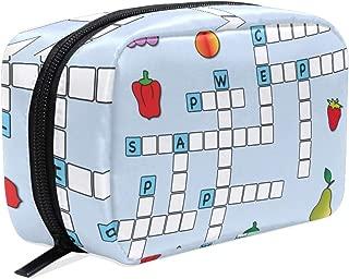 Makeup Bag Portable Travel Cosmetic Bags Crossword Cartoon Storage Bag for Women Skincare Makeup Train Case