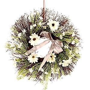 "oufenli Artificial Spring Wreath,15.7"" Simulation Eucalyptus leaf Cosmos Flower Wreath Garland Decoration- Green Artificial Wreath for Front Door Wall Window Home Festival Decor Ornament"