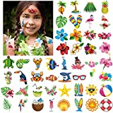 Tatuajes Temporales Para Niños Niñas adultos, Konsait 96pcs Hawaiana Tropical Tatuaje Falso Pegatinas Para Decoración de Fiesta de Verano, Infantiles fiesta de cumpleaños regalo Bolsas Relleno