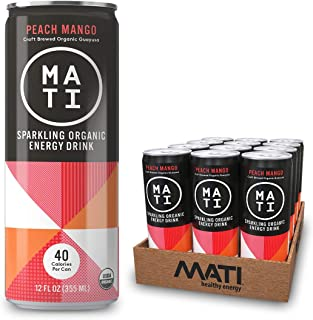 MATI Sparkling Organic Energy Drink, All Natural Craft Brewed Guayusa, Low Calorie, Refreshing Not Sweet, Peach Mango, 12 Fl Oz Cans (Pack of 12) Plant Based Energy, NON-GMO, Vegan, Antioxidants
