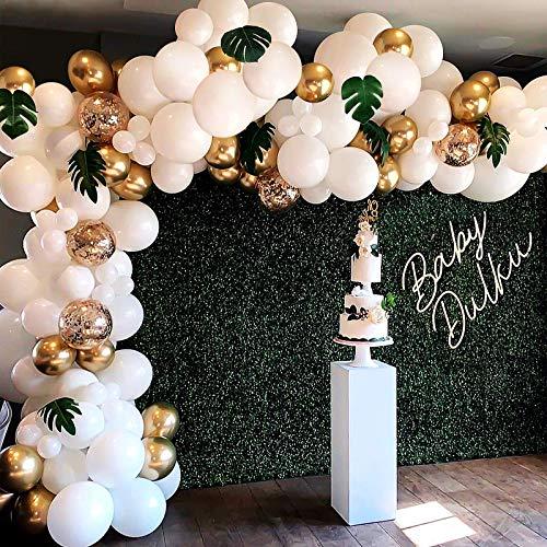 HALOVIE Luftballons Arch Balloon Blau Weiß Silber, 107 Stück Arch Balloon Kit Geburtstagsdeko Boy Girl Hochzeit Valentinstag Ballon Girlande Dekoration, Pastellblau Konfetti Ballons