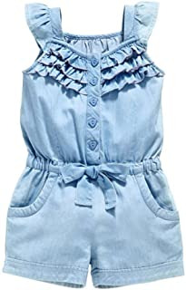 OWIKAR Baby Girls Rompers Lace Denim Vest Shorts Boat Neck Summer Dress for Age 1-6