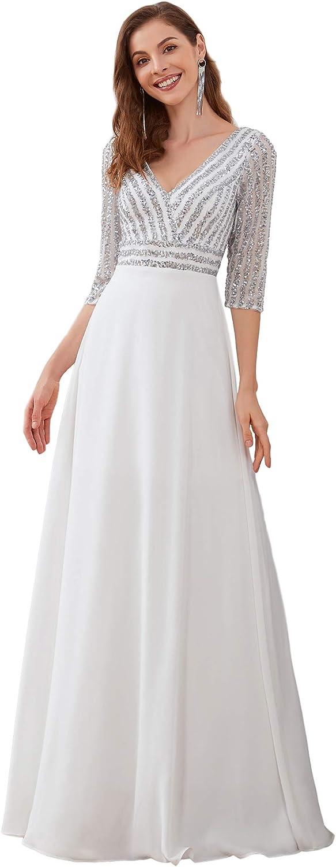 Ever-Pretty Women's Elegant V-Neck Long Sleeve Sequin Evening Party Dress 0751