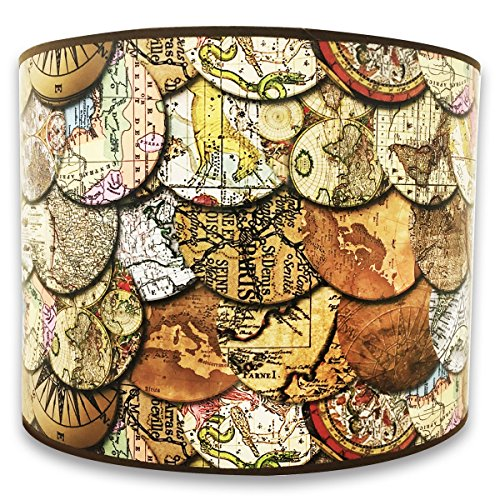 Royal Designs 10 Decorative Vintage Maps Designer Hard Back Lampshade Made in the U.S.A. 10 x 10 x 8 (HBC-8015-10) by Royal Designs, Inc