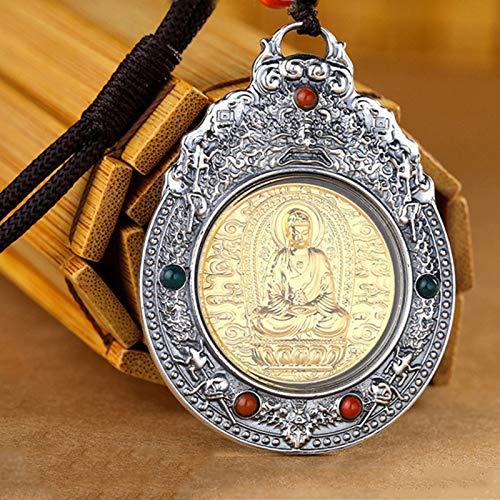 Dxnbp Buda Colgante Collar Necklace para Mujeres Y Hombre joyería Unisex 999 Plata Esterlina Amuleto Collar Amuleto Budista para Mujeres Hombres