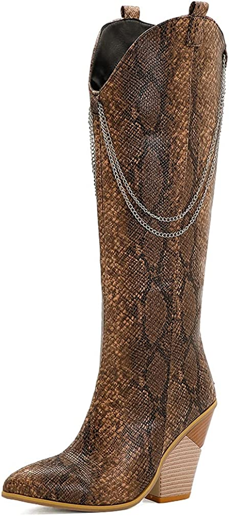 Catarry Women Snakeskin Chain Chunky Cowgirl Boots Ladies Zipper Pointed Toe High Heel Knee High Boots
