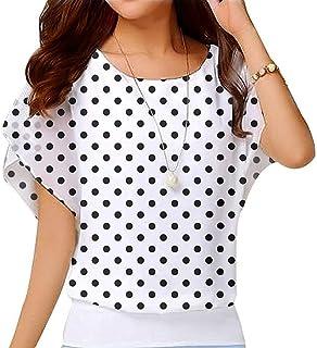 6edb8251b483d Yiarnme Femme Mousseline de Soie Tunique Haut à Pois Manche Courte Tops  Blouse T-Shirt