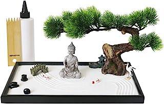 BangBangDa Japanese Tabletop Meditation Zen Garden - Miniature Rock Sand Zen Garden for Desk - Office Zen Gifts