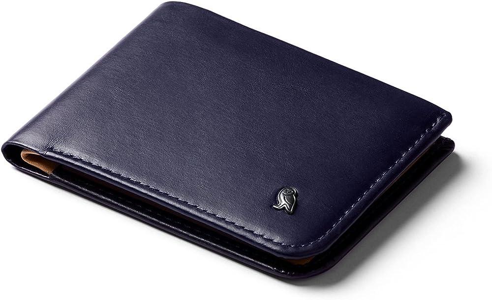 Bellroy hide & seek wallet, portafoglio sottile in pelle per uomo, porta carte di credito, WHSE-NAV-301