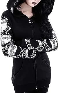 Gothic Decor, MILIMIEYIK Cardigan Jacket Women Plus Size Hooded Coat Long Sleeve Punk Moon Print Black Cloak