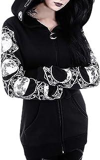 Modaworld Felpa con Cappuccio da Donna con Chiusura Punk da Donna, Felpa con Zip a Maniche Lunghe in Stile Gotico