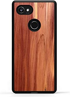 Carved Pixel 2 XL Eastern Red Cedar Wood Traveler Protective Case, Unique Real Wooden Phone Cover (Rubber Bumper, Fits Google Pixel 2 XL)
