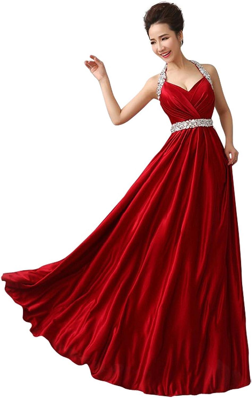 Kmformals Women's Beaded Long Halter Prom Dress Evening Dresses